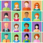 Colorful grid graphic with a different person in each square, 24 total